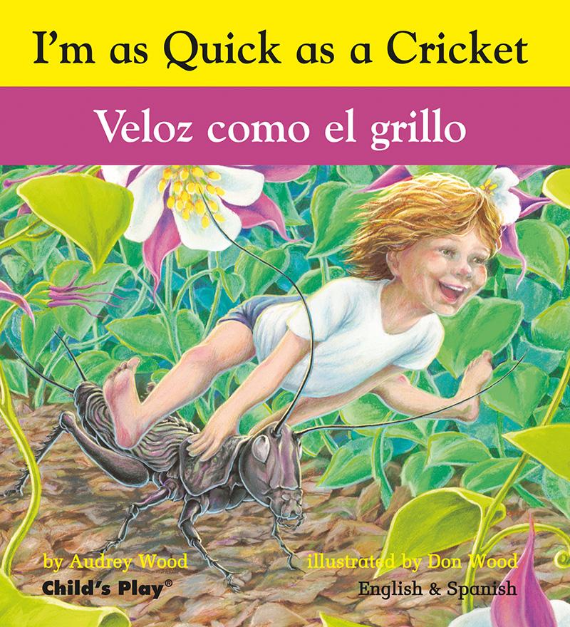 Quick as a Cricket dual language English/Spanish board book 160 x 145mm (grey board version) - Jacket